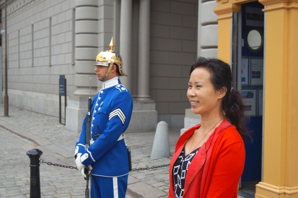 Mother in law in Stockholm with Royal Guard